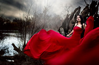 Dramatic Woman Portrait In Red Flowy Dress ( California & bay area photographer )